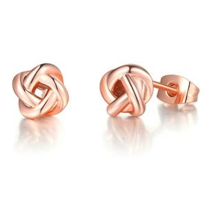 Rose Gold Plated Love Knot Style Stud Earrings